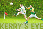 Finuge's Enda Galvin goes for the point against Skellig's Seamus O'Sullivan in Finuge on Sunday.