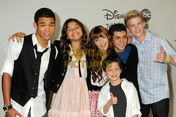 Roshon Fegan, Zendaya Coleman, Bella Thorne, Davis Cleveland, Adam Irigoyen and Kenton Duty..Disney ABC Television Summer TCA Party 2010 held at The Beverly Hilton Hotel, Beverly Hills, California, USA..August 1st, 2010.half length white shirt back waistcoat blue pink dress.CAP/ADM/BP.©Byron Purvis/AdMedia/Capital Pictures.