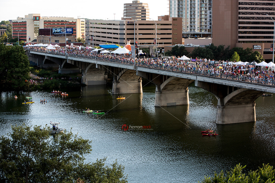 The annual The Bat Fest festival involves food, live music, arts and crafts, bat activities, and rides for the kiddies - in honor of Austin's resident bats who fly out from under the bridge in a black stream each evening.
