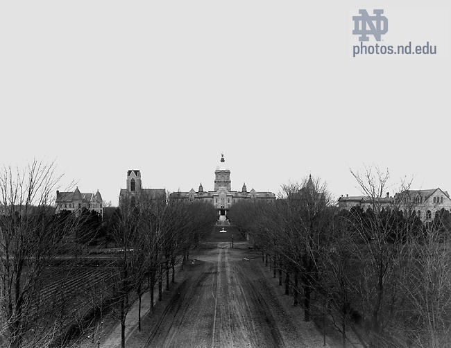GPHR 45/8158:  View of Campus - Sorin Hall, Basilica of the Sacred Heart (without the steeple), Main Building, Washington Hall, Science (LaFortune) Hall, and Institute of Technology (Crowley Hall), c1889.  Image from the University of Notre Dame Archives.