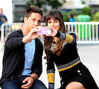 August 11, 2012 Dean Geyer, Lea Michele, shooting on location for  Glee at Washington Square in New York City.Credit:© RW/MediaPunch Inc. /NortePHOTO.com