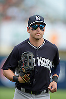 Outfielder Jacoby Ellsbury (22) of the New York Yankees during a spring training game against the Pittsburgh Pirates on February 26, 2014 at McKechnie Field in Bradenton, Florida.  Pittsburgh defeated New York 6-5.  (Mike Janes/Four Seam Images)