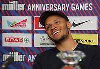 Andre De Grasse (Canada) – 100m - Triple Olympic medallist (100m/200m/4x100m) during the Muller Anniversary Games 2019 pre-event media day at the Leonardo Royal Hotel, Prescod Street, England on 19 July 2019. Photo by Alan  Stanford.