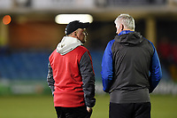 Scarlets Head Coach Wayne Pivac speaks with Bath Director of Rugby Todd Blackadder prior to the match. European Rugby Champions Cup match, between Bath Rugby and the Scarlets on January 12, 2018 at the Recreation Ground in Bath, England. Photo by: Patrick Khachfe / Onside Images