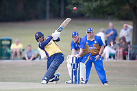 Rishi Patel of Essex lofts a huge six over wide mid wicket during Upminster CC vs Essex CCC, Benefit Match Cricket at Upminster Park on 8th September 2019