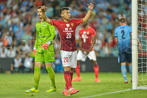02.03.2016. Sydney, Australia. AFC Champions League. Sydney versus Guangzhou Evergrande. Evergrande midfielder Yu Hanchao frustrated as he misses a chance to score. Sydney won the game 2-1.