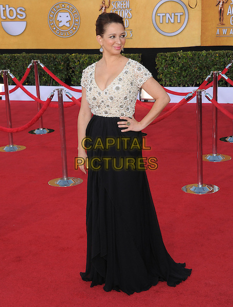 Maya Rudolph.18th Annual Screen Actors Guild Awards held at The Shrine Auditorium, Los Angeles, California, USA..January 29th, 2012.SAG SAGS full length black skirt white top beads beaded hand on hip.CAP/RKE/DVS.©DVS/RockinExposures/Capital Pictures.