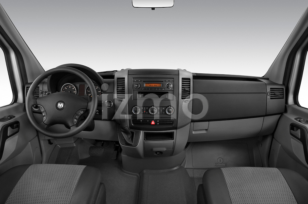 Straight dashboard view of a 2008 Dodge Sprinter Passenger Van.