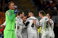 Lucas Vazquez of Real Madrid celebrates with team mates after scoring the goal of 0-2 during the Uefa Champions League 2018/2019 Group G football match between AS Roma and Real Madrid atOlimpico stadium , Rome, November, 27, 2018 <br />  Foto Andrea Staccioli / Insidefoto