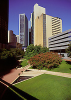 Thanksgiving Square is a quiet oasis in the heart of downtown Dallas, Texas