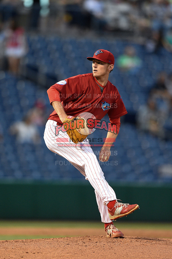 Clearwater Threshers pitcher Brandon Leibrandt (7) delivers a pitch during a game against the Tampa Yankees on April 21, 2015 at Bright House Field in Clearwater, Florida.  Clearwater defeated Tampa 3-0.  (Mike Janes/Four Seam Images)