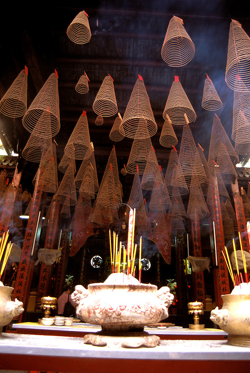 Southeast Asian, Vietnam, Saigon, Thien Hau Pagoda,  incense sticks, Cholon, photo# vietna105.Photo Copyright: Lee Foster, www.fostertravel.com, 510-549-2202, lee@fostertravel.com