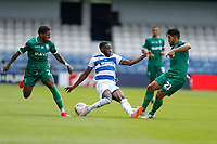 11th July 2020; The Kiyan Prince Foundation Stadium, London, England; English Championship Football, Queen Park Rangers versus Sheffield Wednesday; Olamide Shodipo of Queens Park Rangers being challenged by Massimo Luongo and Kadeem Harris of Sheffield Wednesday