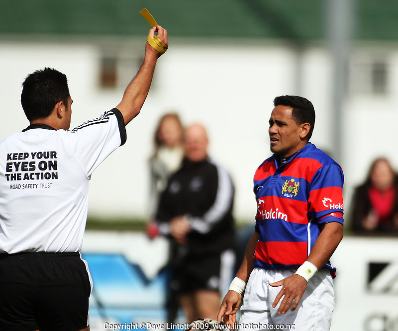 Buller fulback Tema Faifua gets yellow-carded during the AA Rewards Heartland Championship match between Wairarapa Bush and Buller at Memorial Park, Masterton, New Zealand on Saturday, 26 September 2009. Photo: Dave Lintott / lintottphoto.co.nz