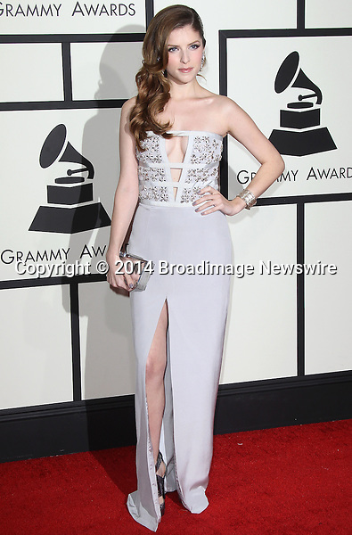 Pictured: Anna Kendrick<br /> Mandatory Credit &copy; Frederick Taylor/Broadimage<br /> 56th Annual Grammy Awards - Red Carpet<br /> <br /> 1/26/14, Los Angeles, California, United States of America<br /> <br /> Broadimage Newswire<br /> Los Angeles 1+  (310) 301-1027<br /> New York      1+  (646) 827-9134<br /> sales@broadimage.com<br /> http://www.broadimage.com
