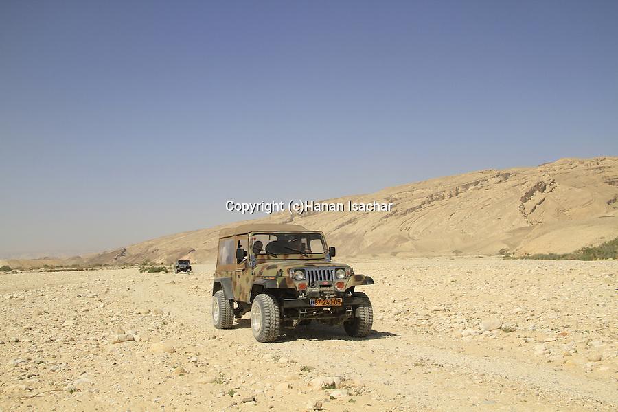 Israel, Negev, Jeeps in Wadi Zin