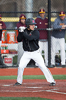 Carmen Sclafani (19) of the Rutgers Scarlet Knights at bat against the Iona Gaels at City Park on March 8, 2017 in New Rochelle, New York.  The Scarlet Knights defeated the Gaels 12-3.  (Brian Westerholt/Four Seam Images)