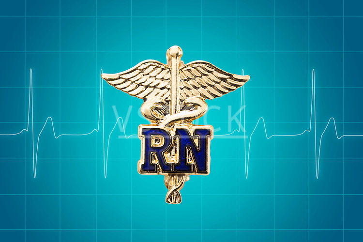 Gold Caduceus on pulse trace graphics