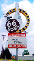 66 Bowl sign for a bowling alley on old Route 66 in Oklahoma City, Oklahoma.