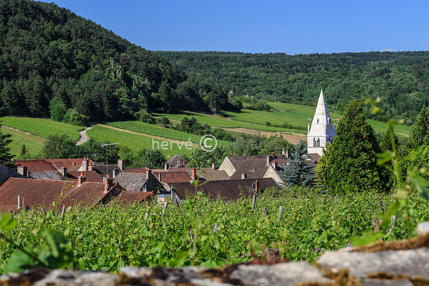 France, Côte-d'Or (21), Auxey-Duresses, le vignoble et le village // France, Cote d'Or, Auxey-Duresses, the village and vineyard