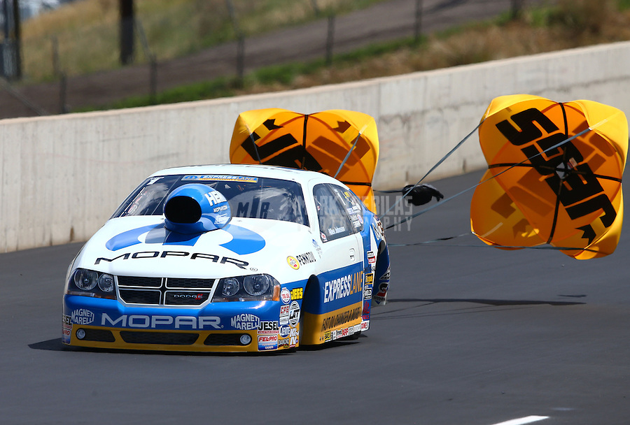 Jul. 20, 2013; Morrison, CO, USA: NHRA pro stock driver Allen Johnson during qualifying for the Mile High Nationals at Bandimere Speedway. Mandatory Credit: Mark J. Rebilas-