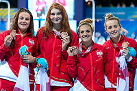 Picture by Alex Whitehead/SWpix.com - 07/04/2018 - Commonwealth Games - Swimming - Optus Aquatics Centre, Gold Coast, Australia - (from left) Holly Hibbott, Freya Anderson, Eleanor Faulkner and Siobhan Marie-O'Connor of England win Bronze in the Women's 4x200m Freestyle Relay final.