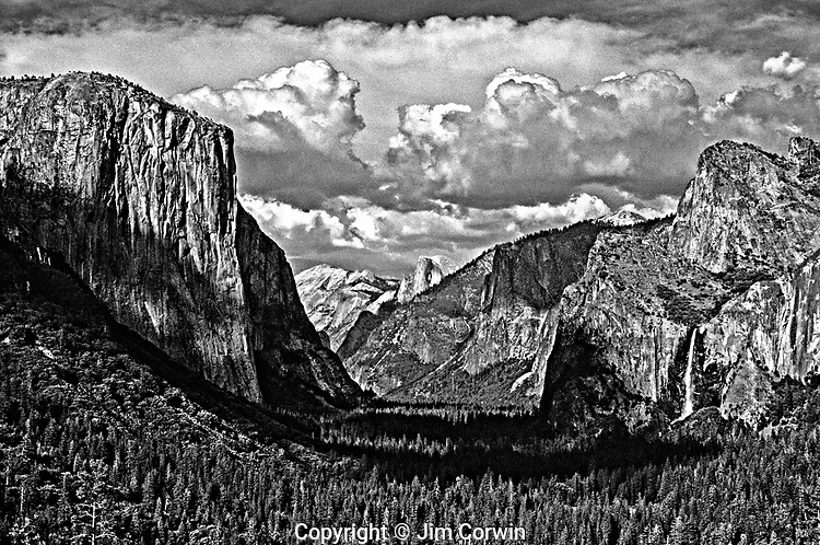 Yosemite National Park looking down the valley view with El Capitan Half Dome and waterfall California USA