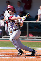 Tyler Holt #15 of the Florida State Seminoles follows through on his swing against the North Carolina Tar Heels at Boshamer Stadium March 20, 2010, in Chapel Hill, North Carolina.  Photo by Brian Westerholt / Four Seam Images