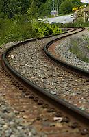 Rail line near Squamish,Vancouver, British Columbia, Canada