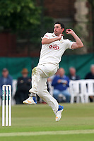 Mark Footitt in bowling action for Surrey during Surrey CCC vs Essex CCC, Specsavers County Championship Division 1 Cricket at Guildford CC, The Sports Ground on 10th June 2017