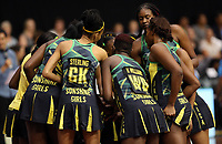 21.02.2018 Jamaica in action during the Jamaica v Fiji Taini Jamison Trophy netball match at the North Shore Events Centre in Auckland. Mandatory Photo Credit ©Michael Bradley.