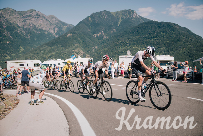 peloton led by Wout Poels (NED/SKY) & Michal Kwiatkowski (POL/SKY) up the final climb of the day (in Spain!): the Col du Portillon (Cat1/1292m)<br /> <br /> Stage 16: Carcassonne > Bagnères-de-Luchon (218km)<br /> <br /> 105th Tour de France 2018<br /> ©kramon