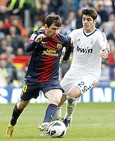 Real Madrid's Alvaro Morata (r) and FC Barcelona's Leo Messi during La Liga match.March 02,2013. (ALTERPHOTOS/Acero) /NortePhoto