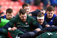 Leicester Tigers forwards in action during the pre-match warm-up. Aviva Premiership match, between Leicester Tigers and London Irish on January 6, 2018 at Welford Road in Leicester, England. Photo by: Patrick Khachfe / JMP