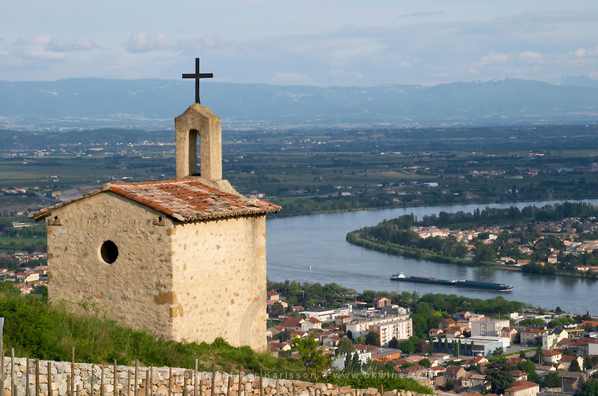 The la chapelle chapel view over town tain l hermitage rhone france