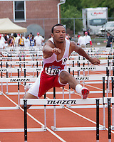 Webb City senior Logan Williams clears the final hurdle during the Class 4 Boys 110 meter hurdles final, Saturday May 25, 2013 in Jefferson City, MO. Williams finished 8th in 15.58 to earn All-State honors at the Missouri Class 3-4 State Track and Field Championships.