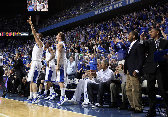 Players on the bench cheer at the end of the second half of UK's 76-68 against Florida  at Rupp Arena on Saturday, Feb. 26, 2011.  Photo by Britney McIntosh | Staff