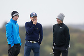 4th October 2017, The Old Course, St Andrews, Scotland; Alfred Dunhill Links Championship, practice round; Rory McIlroy, of Northern Ireland, and Niall James Horan of One Direction share a laugh during a practice round before the Alfred Dunhill Links Championship on the Old Course, St Andrews