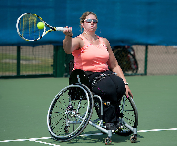 Louise Hunt (GBR) in action during her defeat by Marjolein Buis (NED) in their Womens Singles Second Round match today - Marjolein Buis (NED) def Louise Hunt (GBR) 6-2 6-1<br /> <br />  (Photo by James Jordan/Tennis Foundation) <br /> <br /> Tennis - British Open Wheelchair Tennis Championships - Wednesday 17th July 2012 - Nottingham Tennis Centre - Nottingham<br /> <br /> &copy; Tennis Foundation/James Jordan - The National Tennis Centre - 100 Priory Lane - Roehampton - London - SW15 5JQ - Tel 020 8487 7304 - info@tennisfoundation.org.uk