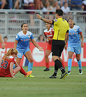 Boyds, MD -Saturday August 26, 2017: Tori Huster, Danielle Colaprico, Christen Press during a regular season National Women's Soccer League (NWSL) match between the Washington Spirit and the Chicago Red Stars at Maureen Hendricks Field, Maryland SoccerPlex.