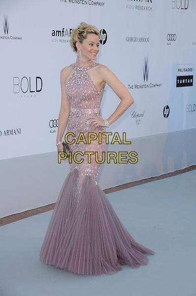 ELIZABETH BANKS.arrivals at amfAR's Cinema Against AIDS 2010 benefit gala at the Hotel du Cap, Antibes, Cannes, France during the Cannes Film Festival.20th May 2010.amfAR full length pink dusky fishtail dress silver beaded long maxi hand on hip purple lilac pleated jewel encrusted gem .CAP/CAS.©Bob Cass/Capital Pictures.
