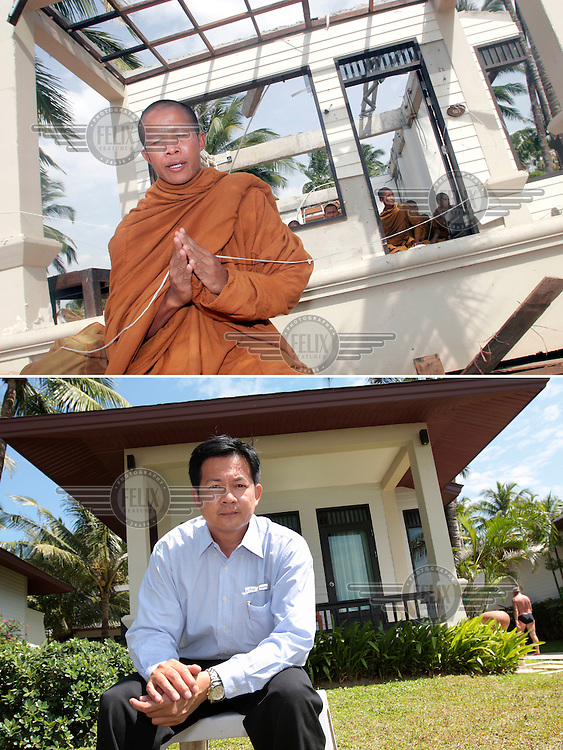 Buddhist monk Chanyut leads prayers following the tsunami hit Khao Lak in Thailand on the morning of Dec 26, 2004. Members of the Thai royal family stayed in the bungalow behind, and  the King's grandson died that morning...Kasidej Preechanond, resident manager at La Flora resort, survived the tsunami, and is now back working at the resort that has been rebuilt...©Fredrik Naumann/Felix Features.
