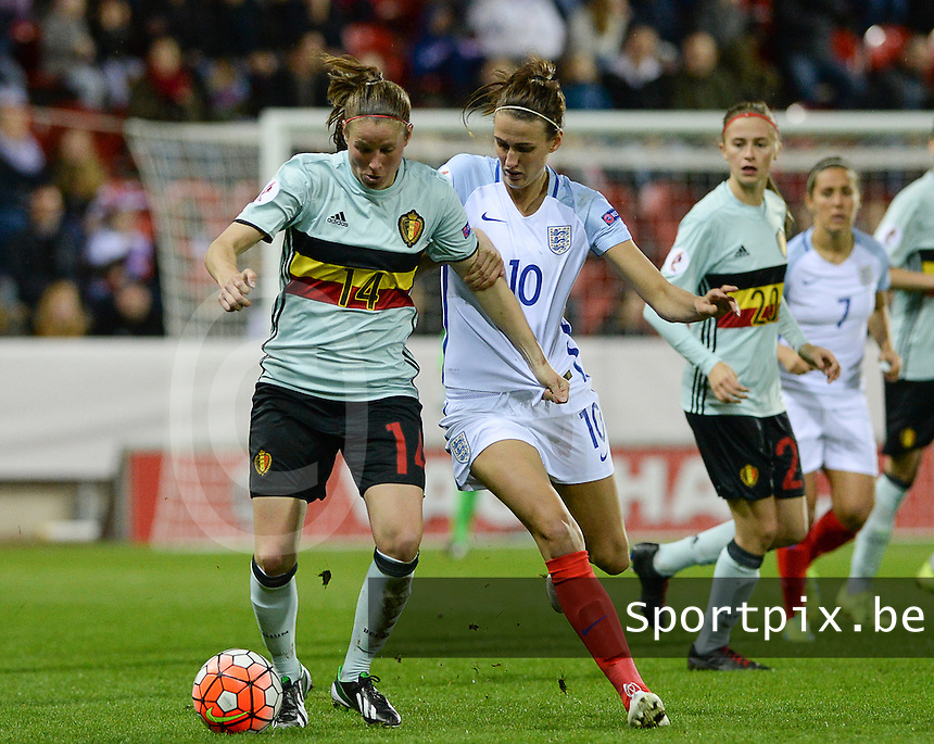 20160408 - ROTHERHAM , ENGLAND : Belgian Lenie Onzia (left) pictured in duel with English Jill Scott (10) during the female soccer game between England and The Belgian Red Flames - Belgium , the fourth game in the qualification for the European Championship in The Netherlands 2017  , Friday 8 th April 2016 at AESSEAL New York Stadium in Rotherham , England . PHOTO DAVID CATRY