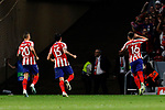 (L-R) Victor Machin 'Vitolo', Stefan Savic and Hector Herrera of Atletico de Madrid celebrate goal during UEFA Champions League match between Atletico de Madrid and Juventus at Wanda Metropolitano Stadium in Madrid, Spain. September 18, 2019. (ALTERPHOTOS/A. Perez Meca)