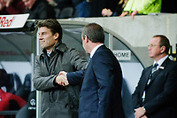 Sunday, 28 November 2012<br /> Pictured:(L-R) Michael Laudrup and Steve Clarke.<br /> Re: Barclays Premier League, Swansea City FC v West Bromwich Albion at the Liberty Stadium, south Wales.