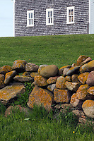 Detail of stone wall and barn. The Mitchell Farm, Corn Neck Road, Block Island, Rhode Island.