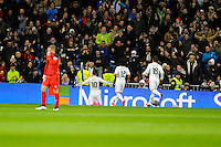 Real Madrid´s James Rodriguez, Marcelo Vieira and Nacho Fernandez during 2014-15 La Liga match between Real Madrid and Sevilla at Santiago Bernabeu stadium in Alcorcon, Madrid, Spain. February 04, 2015. (ALTERPHOTOS/Luis Fernandez) /NORTEphoto.com