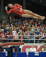NWA Democrat-Gazette/ANDY SHUPE<br />Arkansas' Amanda Wellick competes Friday, Jan. 12, 2018, in the vault portion of the 11th-ranked Razorbacks' meet with sixth-ranked Kentucky in Barnhill Arena in Fayetteville. Visit nwadg.com/photos to see more photographs from the meet.