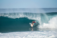 BANZAI PIPELINE, Oahu/Hawaii (Sunday, December 18, 2016) Finn McGill (HAW) - The Billabong Pipe Masters in Memory of Andy Irons, the final stop on the 2016  World Championship Tour (CT) was called on this morning in classy 4'-5' foot North - North East swell. The swell direction favoured Backdoor more than Pipeline with most of the waves ridden Backdoor.<br /> <br /> It was a day of upsets with one of the favourites and world #2 Gabriel Medina losing in Round 3 while tour veteran Kai Otten not only lost in the same round but failed to requalify and dropped off the WCT tour. <br /> Photo: joliphotos
