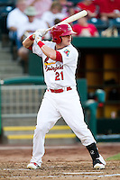 Aaron Luna (21) of the Springfield Cardinals at bat during a game against the Northwest Arkansas Naturals at Hammons Field on August 1, 2011 in Springfield, Missouri. Springfield defeated Northwest Arkansas 7-1. (David Welker / Four Seam Images)